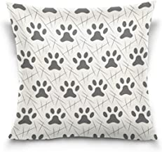 """MASSIKOA Cats Dogs Paw Footprint Decorative Throw Pillow Case Square Cushion Cover 16"""" x 16"""" for Couch, Bed, Sofa or Patio..."""