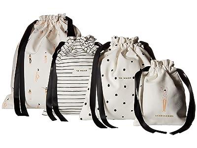 Kate Spade New York Getting Dressed Travel Bag Set (Black/Cream) Handbags