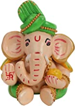 Statuette Carving Handmade Terracotta Made Eco Friendly Lord Ganesha Idol Showpiece for Car Dashboard and Home Décor –Green