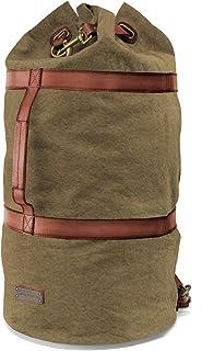 DRAKENSBERG Duffel Bag - großer Seesack und Rucksack im Vintage-Marine-Design, handgemacht in Premium-Qualität, 60 L, Canvas und Leder, Olivgrün, DR00125
