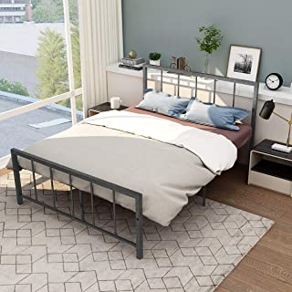 Full Size Metal Bed Frame with Headboard and Footboard Heavy Duty Iron Bed Stable Metal Slats Box Spring Replacement Platform Mattress Base Black Silver