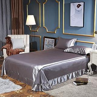 GUANLIDE Drap Plat pour lit,Draps de lit en Satin de Soie, Drap Housse Full Queen King, Housse de Matelas Soyeux @ Silver_...