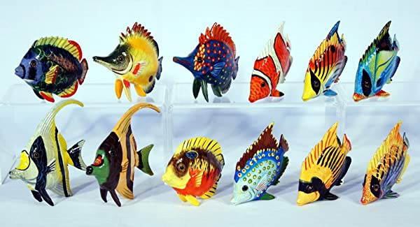 Handpainted Assorted Tropical Fish Figurine 3 Set Of 12