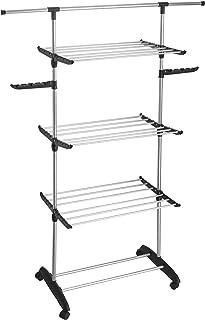 comprar comparacion Kitchen Move Ultima IH1 - Tendedero multifunción, Gran Capacidad, 70, Acero Inoxidable, Negro y Gris, 122 x 50 x 162 cm