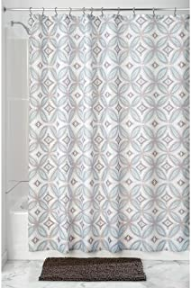 "InterDesign Vintage Tile Fabric Shower Curtain - 72"" x 72"", Taupe/Blue"