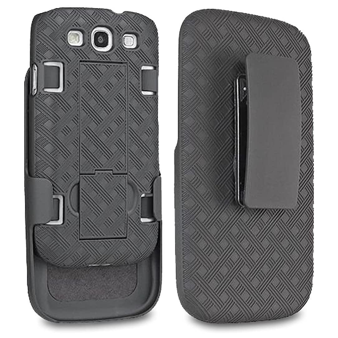 Samsung Galaxy S3 Case, SOGA [Holster Combo Series] Slim Hard Armor Case with Kickstand and Swivel Belt Clip Samsung Galaxy S3 - Black