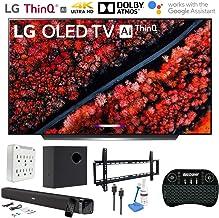 "$2496 Get LG OLED65C9PUA 65"" C9 4K HDR Smart OLED TV w/AI ThinQ (2019) w/Soundbar Bundle Includes Deco Gear 60W Soundbar with Subwoofer, 37-70"" Low Profile Wall Mount Kit, 2.4GHz Wireless Keyboard and More"