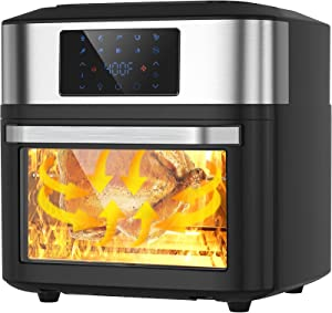 10-in-1 Air Fryer Oven, 20 Quart Airfryer Toaster Oven Combo, 1800W Large Digital LED Screen Air Fryers, Large Capacity Countertop Convection Toaster Oven with Rotisserie Dehydrator, ETL Certified