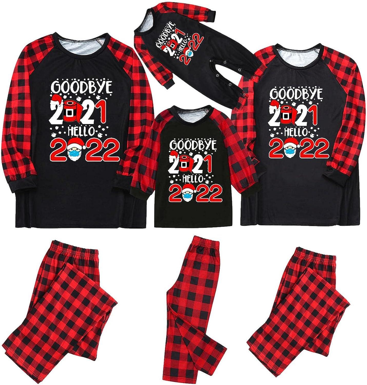 Blekii Matching Christmas Pajamas for Family Women Men Red Plaid Reindeer Holiday Sleepwear Mum and Dad Pjs Set