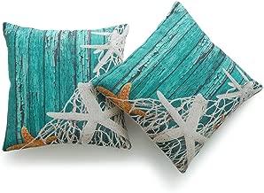 Hofdeco Decorative Throw Pillow Cover HEAVY WEIGHT Cotton Linen Vintage Sea Life Starfish Netting Beach Wood 18x18 45cm x 45cm Set of 2