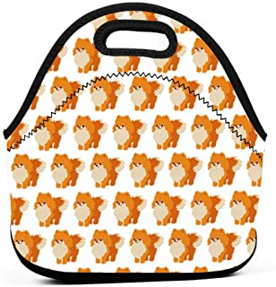 ONUPMIN Cute Pomeranian Dog Lunch Bag Waterproof Insulated Bento Pouch Neoprene Lunch Reusable Tote Box School Office Picn...