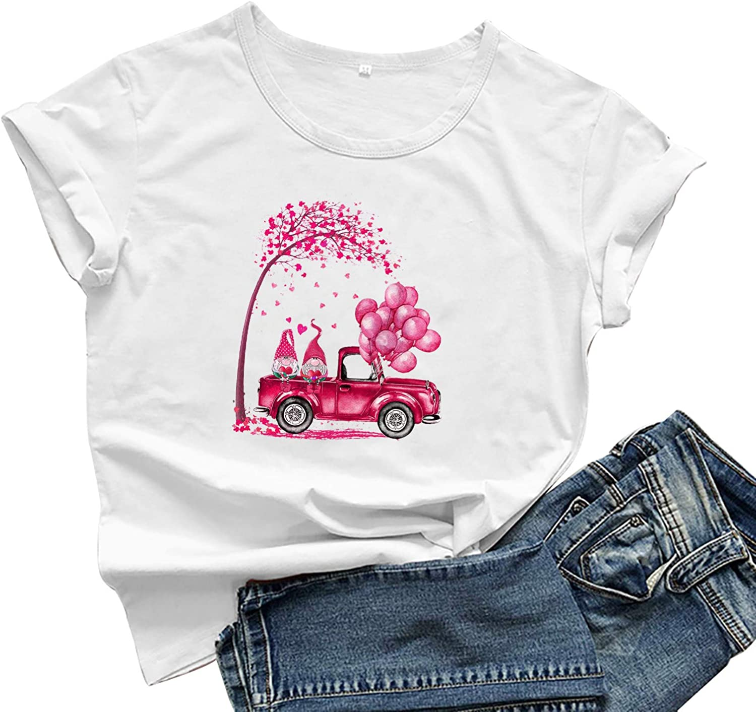 FABIURT T Shirts for Women, Womens Valentine's Day Funny Graphic Printed T-Shirt Short Sleeve Casual Blouse Tunic Tops