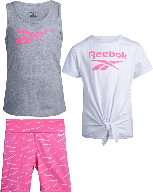 Max 73% favorite OFF Reebok Girls 3-Piece Workout Active Short Set T-Shir - Tank Top