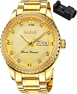 Diamond Watches for Men,Business Dress Watch Waterproof Luminous,Male Golden Big Dial Luxury Casual Quartz Analog Watches with Day Date Calendar and Stainless Steel Band