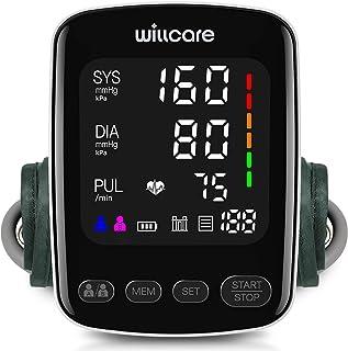 مانیتور فشار خون Willcare ، دستگاه BP دقیق بازوی فوقانی اتوماتیک برای استفاده در منزل با صفحه نمایش با نور پس زمینه بزرگ و کاف فشار خون قابل تنظیم ، شامل باتری ها