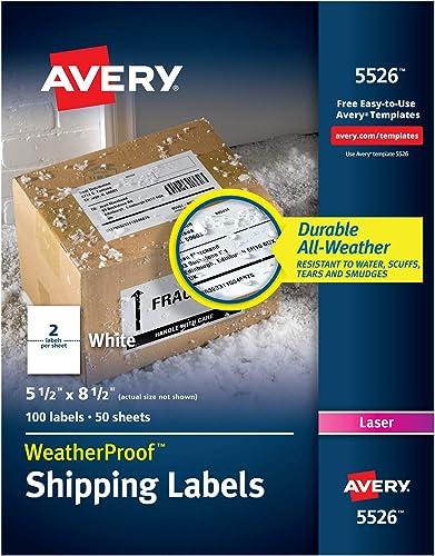 Avery Wetterfeste Versandetiketten, TrueBlock-Technologie, Laserdrucker, 13,7 x 21,6 cm 100 labels 5 1 2  x 8 1 2  Weiß