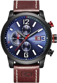 Men Quartz Watches Men's Multifunction Waterproof Watch Man Casual Sport Chronograph Wristwatch (Black Blue)