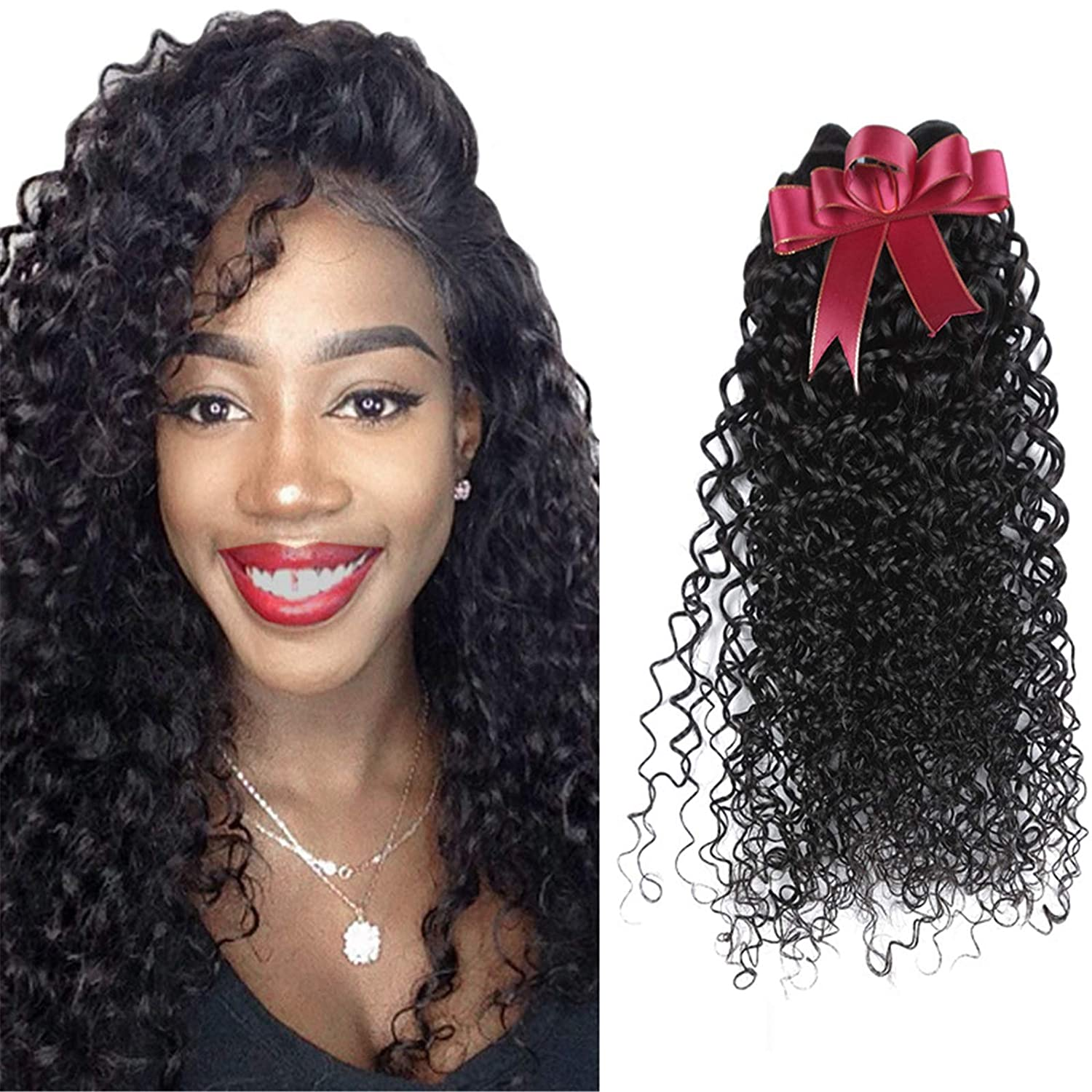 Year-end annual account QAZPL Kinky Curly Brazil Remy Hair Women New product!! Human 8- Wig For