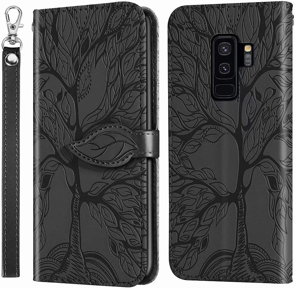 MEUPZZK Wallet Case for Samsung Galaxy S9 Plus, Embossed Tree Premium PU Leather [Folio Flip][Kickstand][Card Slots][Wrist Strap][6.2 inch] Phone Cover for Samsung Galaxy S9 Plus (R-Black)