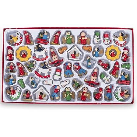 BestPysanky Set of 48 Santa, Snowman, Angels German Style Miniature Wooden Christmas Ornaments