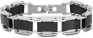 Steve Madden Black IP Plated Stainless Steel Greek Key Link Bracelet for Men