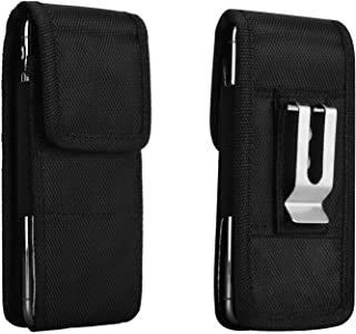 Cell Phone Belt Clip Holster Flip Pouch, Techcircle Splash-Proof Nylon Universal Phone Holder Carrying Case Fits Galaxy Note 10 Plus/Pro, Honor 8X/9X, OnePlus 7 Pro, BLU G8 (fit w/ case on), Black