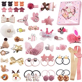 48PCS Baby Girls Hair Accessories Set Baby Hair Clips Fully Lined Cute Hair Bows Clips Elastic Hair Bands Bow Hair Ties Po...