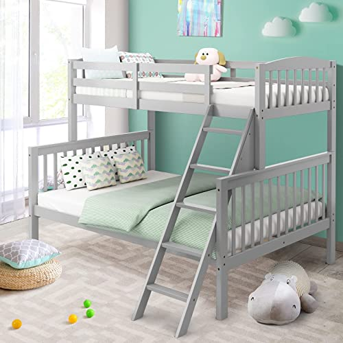 discount Giantex Twin Over Full Bunk Bed, Solid Rubber Wood Bunk Loft Bed online sale Frame with Ladder and Guardrail, Convertible Bunk Bed into 2 Beds, Space Saving, Easy Assembly, Great for Teens and Kids online (Grey) outlet online sale