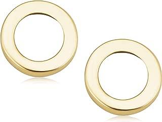 KoolJewelry Minimalist 14k Yellow Gold Circle O Stud Conch Cartilage Earrings