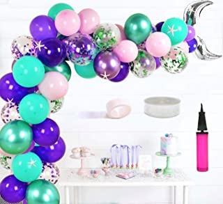 JOYMEMO Mermaid Balloon Garland Arch Kit for Girls, Mermaid Tail Balloons, Confetti Latex Balloons, Resin Starfish for Mermaid Under The Sea Baby Shower Birthday Party Decorations