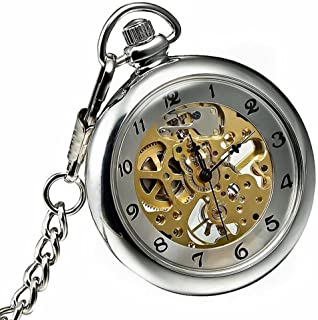 Silver Open Face Mechanical Hand Winding Skeleton Mens Pocket Watch