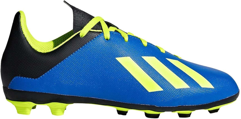adidas Unisex-Kid's X 18.4 FxG J Soccer Shoe, Football Blue/Solar Yellow/core Black, 2 M US Big Kid
