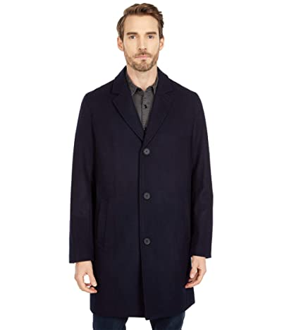 Cole Haan 37 Melton Wool Notched Collar Coat with Welt Body Pockets (Navy) Men