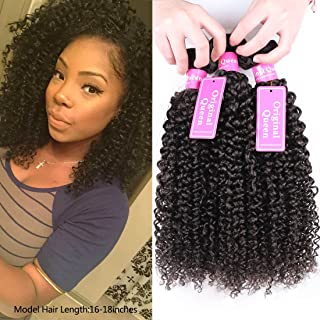 Original Queen 100% Brazilian Unprocessed Virgin Kinky Curly Human Hair Weave 3 Bundles Deep Curly Hair Extensions Mixed Length 10 10 10inches