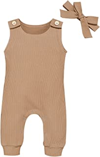 طفلة بوي رومبر مولود بلا أكمام بذلة + عقال مضلع ملابس ملابس مجموعة (Color : Camel, Kid Size : 18M)