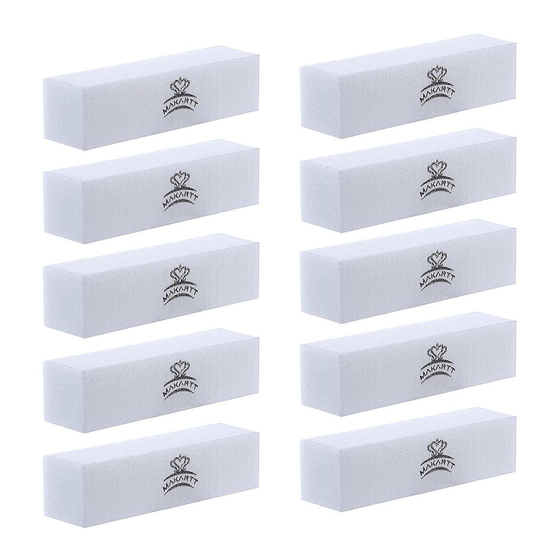 召集する値ビバMAKARTT スポンジバッファー ブロックネイルバッファー 爪磨き スポンジネイルファイル マニキュアツール ネイルケア用 メンズ兼用 (ホワイト)