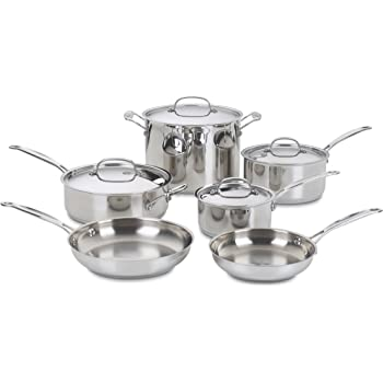Cuisinart 77-10 Chef's Classic Stainless 10-Piece Cookware Set,Silver