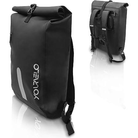 YourVelo - Fahrradtasche für Gepäckträger mit Laptopfach - 25L Volumen - 100% Wasserdicht - Schwarz - als Gepäckträgertasche & Rucksack einsetzbar - Fahrrad Hinten Tasche