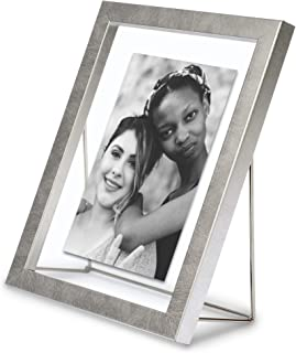 MIMOSA MOMENTS Floating Picture Frame with a Geometric Metal Wire Stand, Photo Display for Desk (Silver, 5x7)