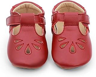 Dotty Fish Luxueuses Chaussures de bébé en Cuir. Rouge. Premiers Pas. T-Bars pour Filles. (18.5 EU)