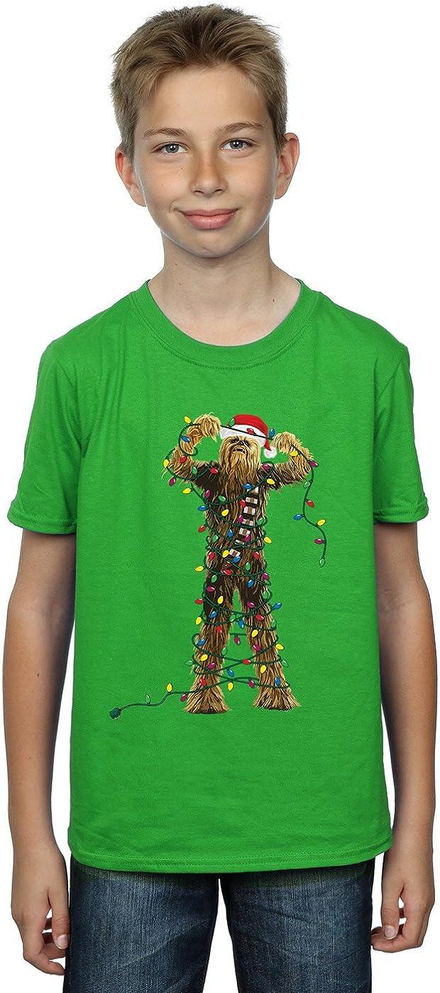 STAR WARS Boys Chewbacca Christmas Lights T-Shirt 12-13 Years Irish Green
