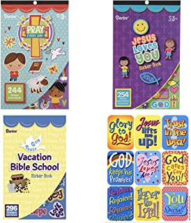 3 BOOKS of Mini RELIGIOUS STICKERS - 244 Pray Every Day - 254 JESUS Loves You & 296 VBS Vacation Bible School & 9 Bonus Stickers (800+ total stickers) Christian Kid`s ACTIVITY Craft PARTY Favors TEACH