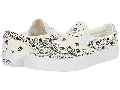 Vans Classic Slip-On ((Bandana) Classic White/Black) Skate Shoes