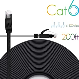 Ethernet Cable Cat6 200 Ft Flat with Cable Clips, comtelek cat 6 Ethernet Rj45 Patch Cable, Slim Network Cable, Thin Internet Computer Cable - 200 Feet Black(60 Meters)