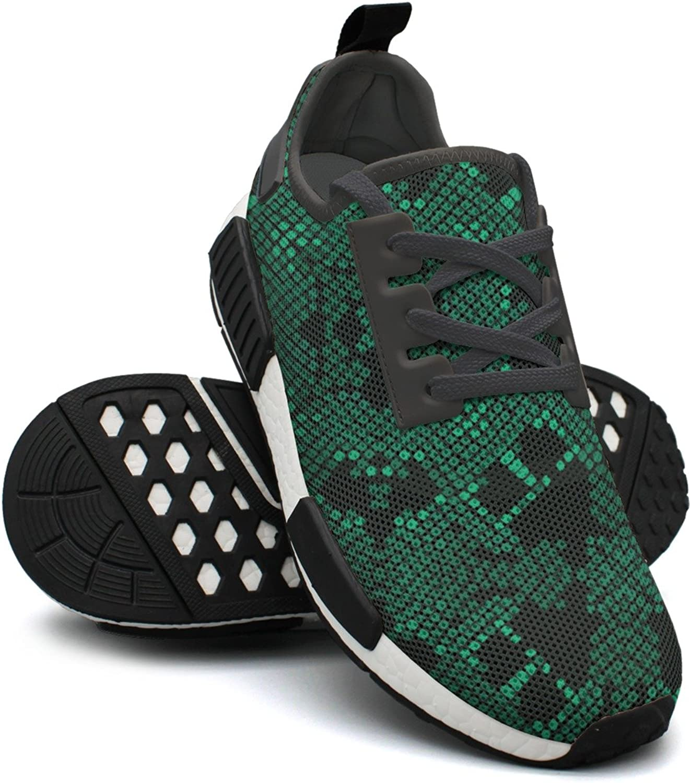 Artificial Green Viper Snake Skin Lightweight Running shoes Women Nmd Outdoor Sports shoes