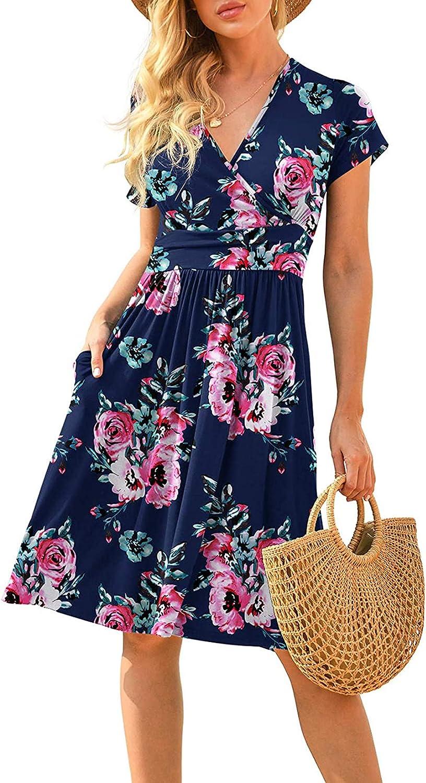SANHOOT Women's A-Line Summer Sundress Short Sleeve V-Neck Knee Length Swing Casual Party Dress with Pockets