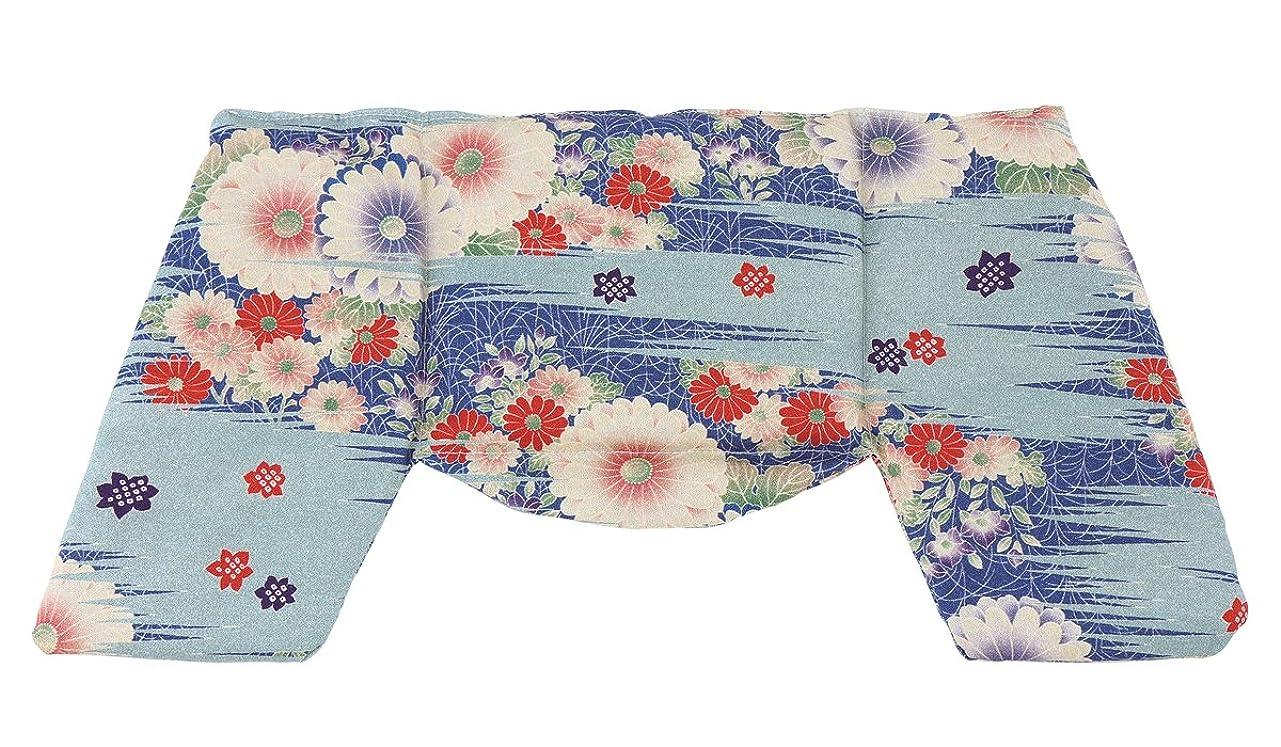 砲撃絶滅させるオーディション京都くろちく ほっこり ショルダーピロー 古布調水色