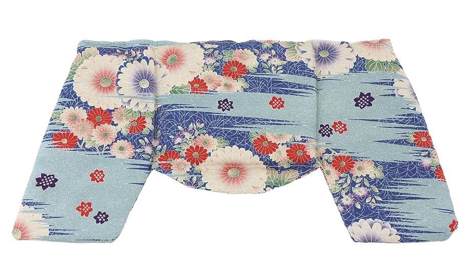 バウンドフィット帳面京都くろちく ほっこり ショルダーピロー 古布調水色