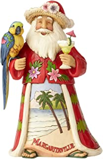"Enesco Jim Shore Heartwood Creek Margaritaville Santa with Parrot Stone Resin, 6.75"" Figurine"