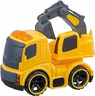 Idena 40015 - Bouwvoertuig met vliegwielaandrijving, ca. 6,5 x 10 x 9 cm, gesorteerd als vuilnisauto, mengwagen, kipper of...